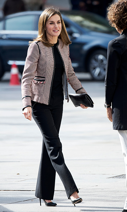 Ever the fashion maven, Queen Letizia attended a seminar on April 5 in the chicest of outfits! She stunned in the BOSS 'Keili' jacket, which she also wore last month, the Hugo Boss 'Fabrisia' wool sweater, black Magrit pumps and a Carolina Herrera clutch.