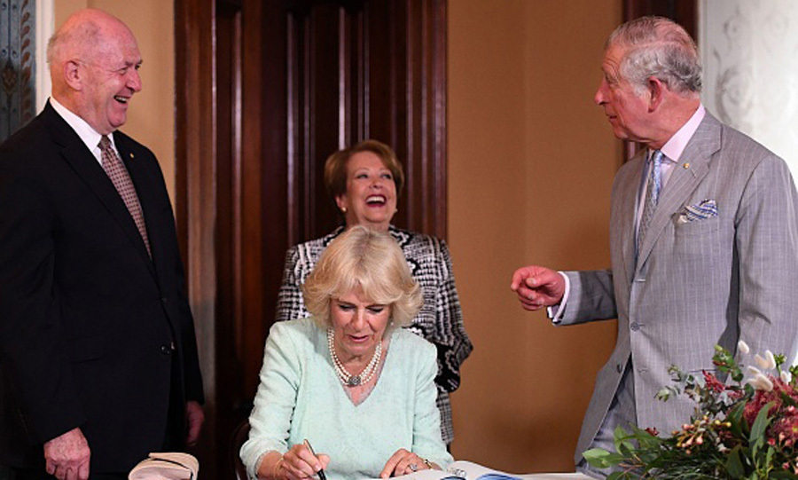 The duo signed the guest book at Old Government House in Brisbane on one of their first stops during the seven-day tour. Charles and Camilla were accompanied by Governor General Sir Peter Cosgrove and Lynne Cosgrove.
