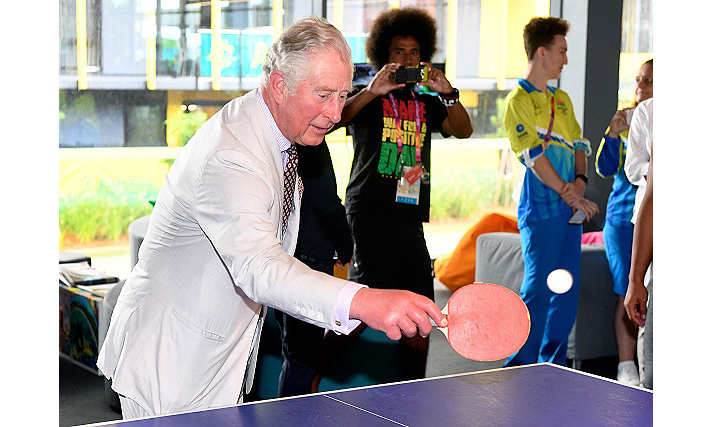 "Prince Charles showed off his table tennis skills during a tour of the Athlete's Village. Duchess Camilla also tried her hand at the game, but conceded, ""I think I'll leave it up to the professionals!""