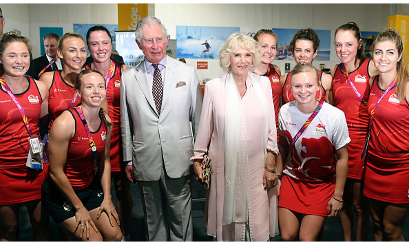 The Prince and the Duchess greeted England's Women's Hockey Team, including gold medalists Susannah Townsend and Sophie Bray. The team went on to win a 2-0 victory over South Africa in their opening Commonwealth Games challenge.