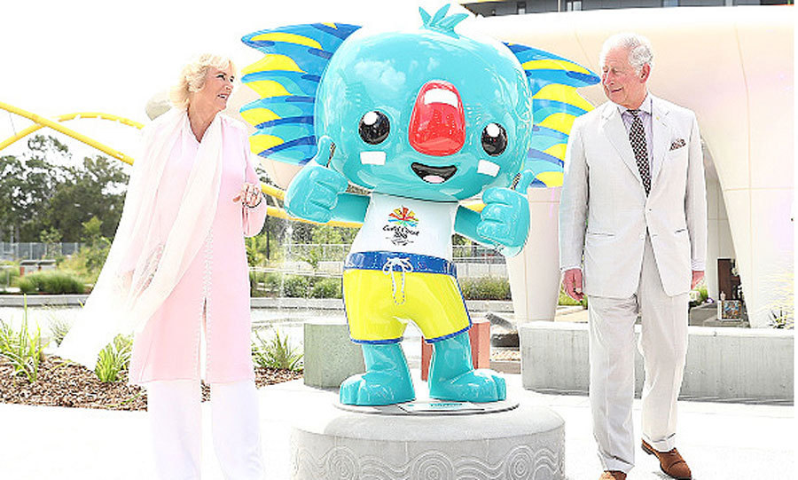 Camilla and Charles happily posed with the official mascot of the 2018 Commonwealth Games, Borobi, during a tour of the Athletes' Village with Prime Minister Malcolm Turnbull and his wife Lucy.