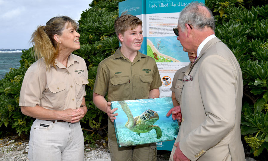 Steve Irwin's widow also had their son Bob on hand for the outing. Prince Charles took a ferry over to the island for the day trip.