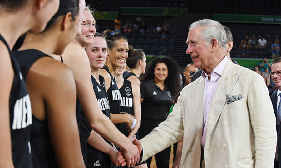Charles had a chance to meet the New Zealand women's basketball team and coaching staff following the India vs New Zealand game at the Commonwealth Games.