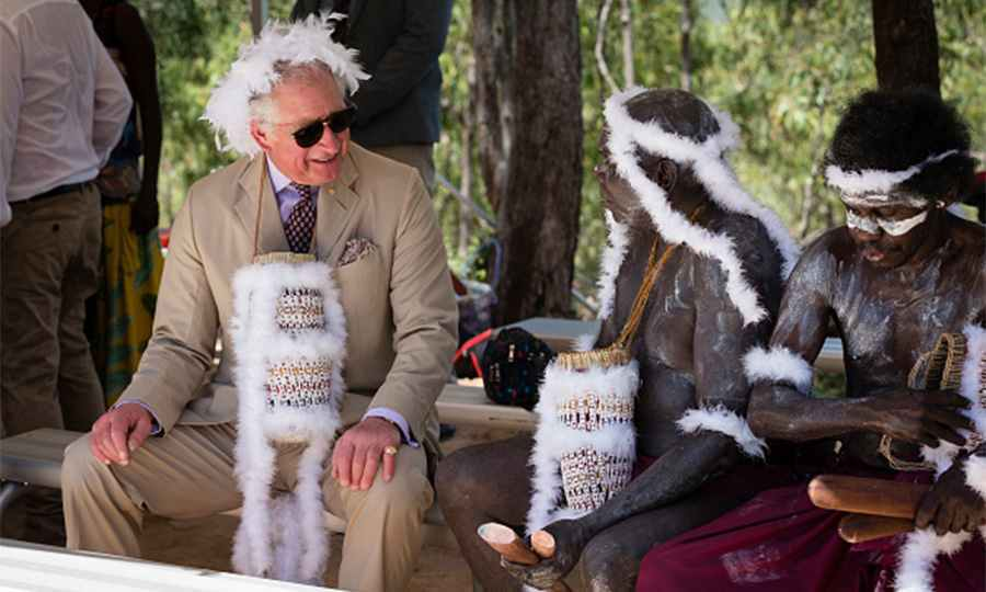 Prince Charles chatted with indigenous elders during a traditional Welcome to Country Ceremony at East Arnhem Land on the Gove Peninsula. The Prince of Wales was given a Mulka feather headdress and a Bathi, string basket.