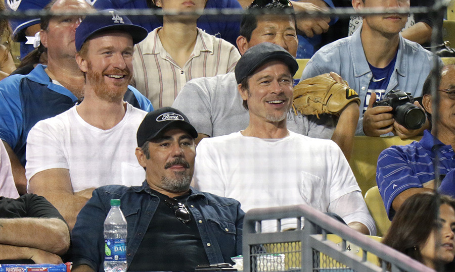 <p>Brad Pitt was all smile as he took in a baseball game Brad Pitt at the Dodger Stadium.</p>