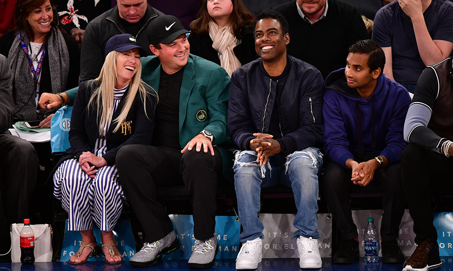 <P>Chris Rock and Aziz Ansari took in a New York Knicks game with pals Justine and Patrick Reed.</p>
