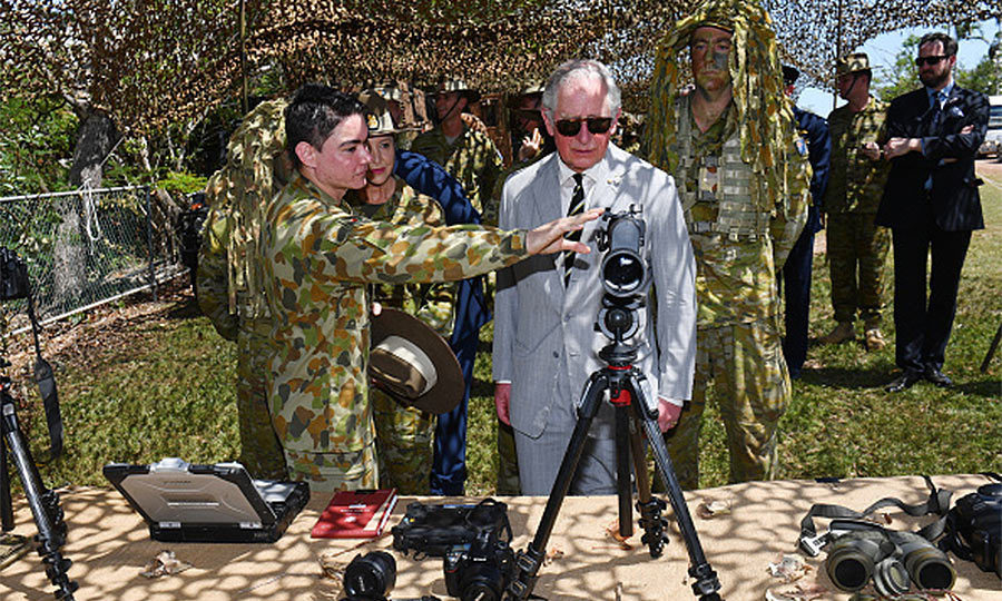 While on the base, the heir to the throne was taken to see some of the unit's systems and equipment which is used to undertake surveillance and reconnaissance operations.