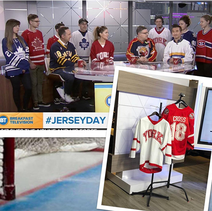 "The cast of Breakfast Television Toronto joined Canadians across the country on Jersey Day, donning their favourite team toppers in honour of the Humboldt Broncos. They shared a glimpse on Instagram with the caption: ""Proud to show our solidarity & support for the #humboltbroncos today on #jerseyday ❤️ Thanks to @yorkuniversity for lending us #MarkCross' jersey. #jerseysforhumboldt #humboltstrong."" Mark Cross was the team's assistant coach, one of 15 people killed in the horrific bus crash. Jersey Day is the brainchild of two hockey moms from British Columbia. <a href=""http://www.bttoronto.ca/videos/jerseyday-in-honour-of-the-humboldt-broncos/"">Check out the video here!</a>
