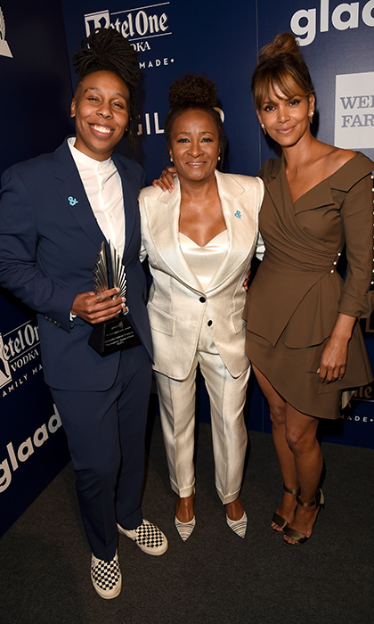 "The 29th annual awards show celebrates the members of the media who work to portray and represent members of the lesbian, gay, bisexual, transgender and queer community - including another of the night's honourees, <em>Master of None</em> writer and star Lena Waithe. Halle Berry attended the show for the first time to present the award to Lena, who made history last year as the first black woman to win an Emmy for writing in a comedy series. ""I saw her Oscar speech and knew I could do anything, so I'm always grateful to you,"" Lena said to Halle during her  powerful acceptance speech. Here, they pose with host Wanda Sykes. 