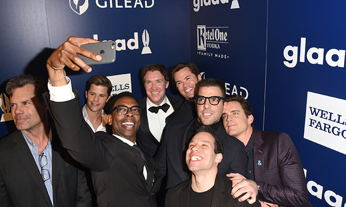The boys in the selfie! Brian Hutchison, Matt Bomer, Tuc Watkins, Andrew Rannells, Charlie Carver, Michael B. Washington, Zachary Quinto, and Robin DeJesus posed for an epic photo  backstage at the GLAAD Awards! The cast of <em>The Boys in the Band</em> presented the  Stephen F. Kolzak award to Jim Parsons.