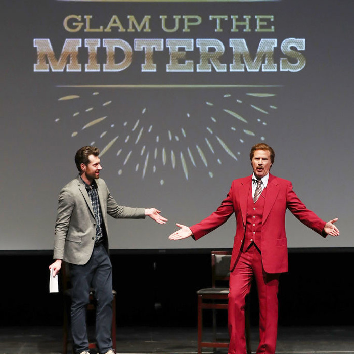 Will Ferrell reprised his role from <eM>Anchorman</em> on stage with Billy Eichner at the Glam Up the Midterms event in San Diego. On his way back to L.A. from the Funny or Die outing, the actor was involved in a car accident. 