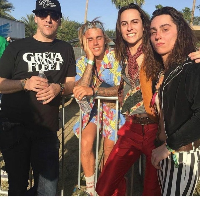 <p>Clad in a bright outfit, Justin also showed his love for the band Greta Van Fleet.</p>