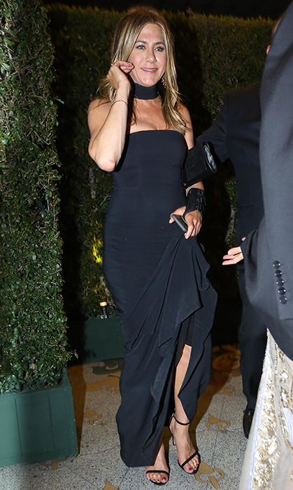 <p>A newly single Jennifer Aniston was the picture of elegance in a stunning black gown for her pal's party. The <em>Friends</em> alum recently split from Justin Theroux, to whom she was married for nearly three years.</p>