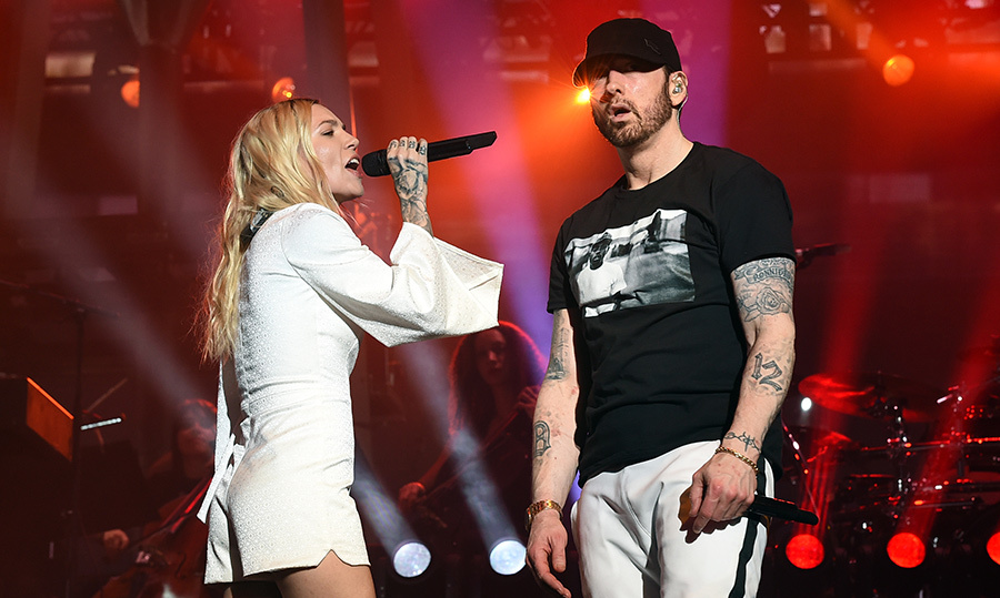 <p>Skylar Grey and Eminem performed together during the rapper's set. He also later brought out Dr. Dre and 50 Cent to join him on stage.</p>