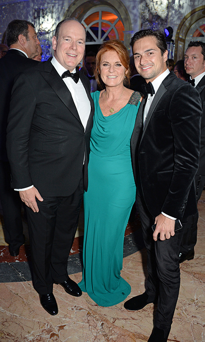 <p>Sarah Ferguson was all smiles in a draped teal dress between Prince Albert II of Monaco and Nelson Piquet Jr at the ABB FIA Formula E Gala Dinner on Apr. 14 in Rome.</p>