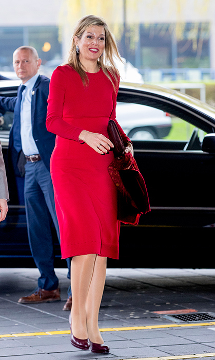<p>The Queen of colour, Queen Maxima, wore all-red while attending a workshop on digital composing at the education school Pabo on Apr. 12 in the Netherlands.</p>