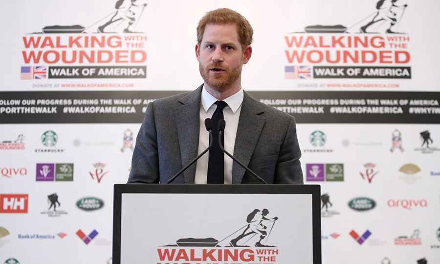 <p>Prince Harry addressed the audience during the 'Walking with the Wounded: Walk of America' event on Apr. 11 in London.</p>