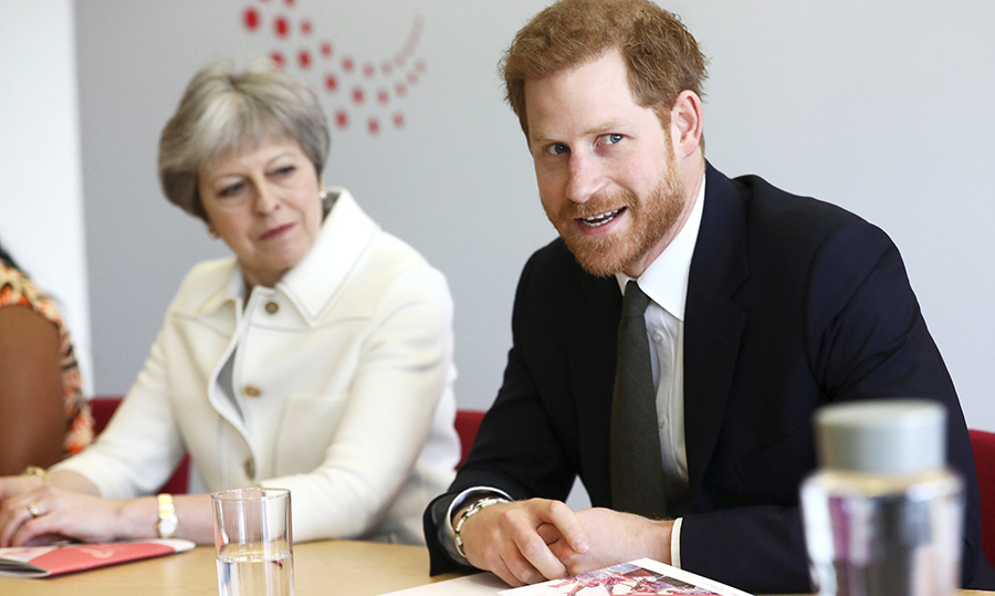 <p>Prince Harry met with British Prime Minister Theresa May at the Commonwealth Heads of Government Meeting on Apr. 16.</p>