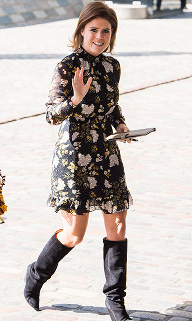 <p>Princess Eugenie, who is also set to tie the knot this fall, looked spring-ready in a floral dress and suede knee-high boots. Like Harry and Meghan, Eugenie will marry Jack Brooksbank at St George's Chapel in Windsor castle five months later on Oct. 12.</p>