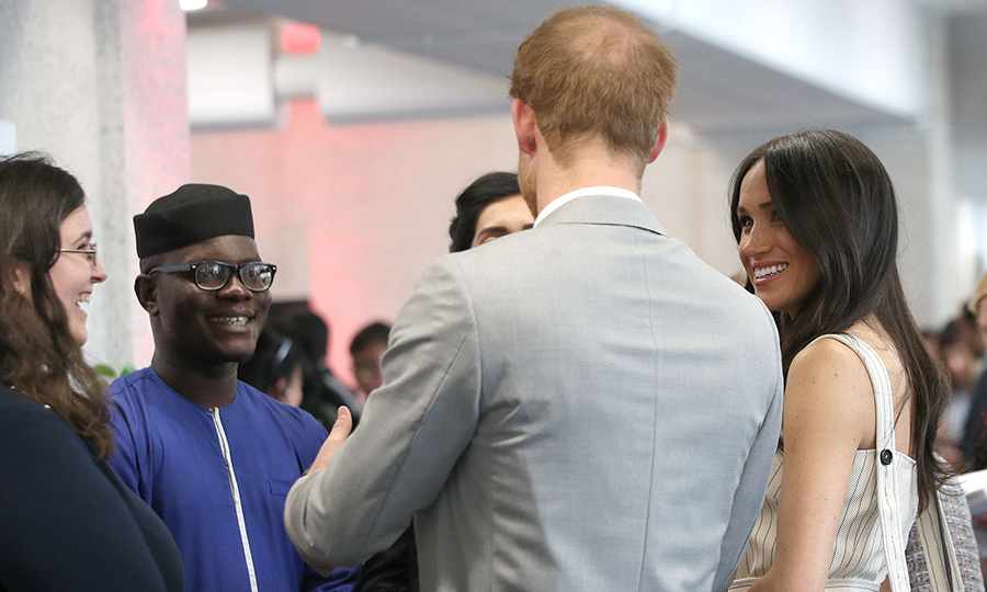 <p>Meghan and Harry laughed and joked with some of the young delegates at the event, showing off their amazing charisma.</p>