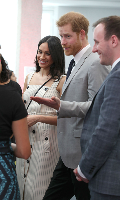 <p>Meghan and Harry showed off their megawatt smiles while laughing with attendees.</p>