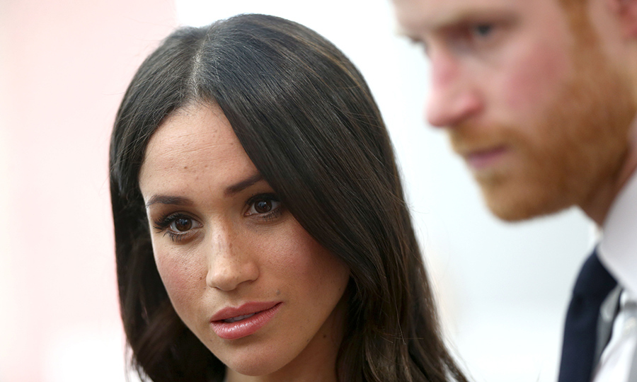<p>Meghan's natural makeup look and sleek hair were flawless! She paired a subtle smokey eye with a pretty pink lip and some blush.</p>