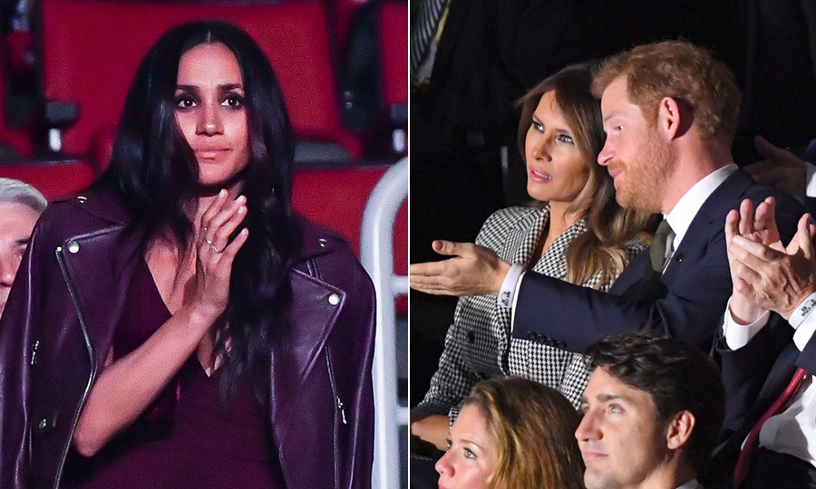 <p>Our first glimpse of Meghan Markle as Prince Harry's girlfriend came when she showed support for him at one of the events that is closest to his heart, the Invictus Games, in Toronto, in November 2017. The Suits star was seated in a separate section from her royal boyfriend, who took his place next to First Lady Melania Trump.</p>
