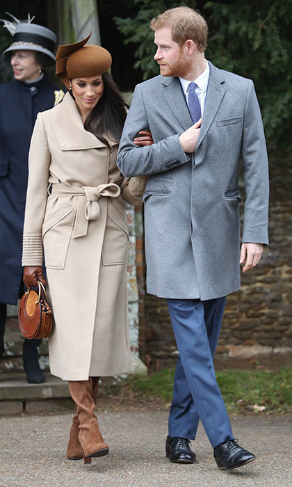 <p>Meghan made her first Christmas with the royal family debut in 2017. The actress looked beautiful in an elegant camel wrap coat by Canadian brand Sentaler. She finished her sophisticated look with a modern-style hat by Philip Treacy, boots by Stuart Weitzman, a 'Pixie' bag by Chloe and coordinating cashmere lined gloves by Dents.</p>