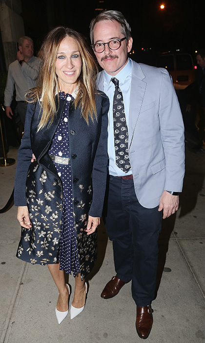 <p>Sarah Jessica Parker and Matthew Broderick stepped out for a classy date night to take in some Broadway! They stopped for a quick snap while attending the opening night after party for Irish Rep's production of <em>The Seafarer</em> at Crompton Ale House on April 18. Alanis Morissette, who was also there, has a musical based on her music, <em>Jagged Little Pill</em> debuting May 2018 in Cambridge, Massachusetts.</p>