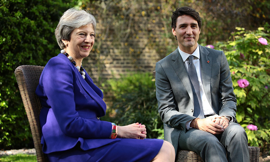 <p>British Prime Minister Theresa May met with Justin Trudeau at Downing Street on April 18 as part of Commonwealth week.</p>