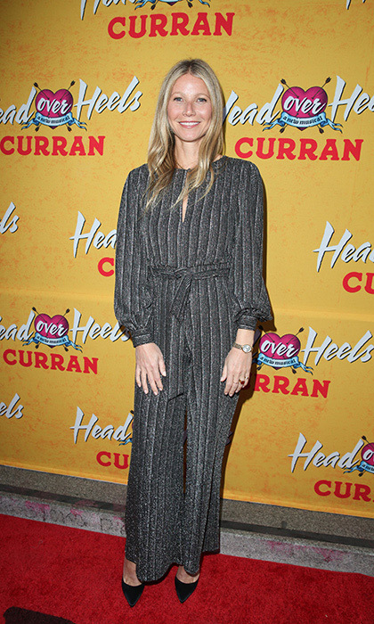 <p>Days after celebrating her engagement with the most lavish and exclusive party ever, Gwyneth Paltrow stepped out in stripes for the opening of musical <em>Head Over Heels</em> at the Curran Theatre on April 18.</p>