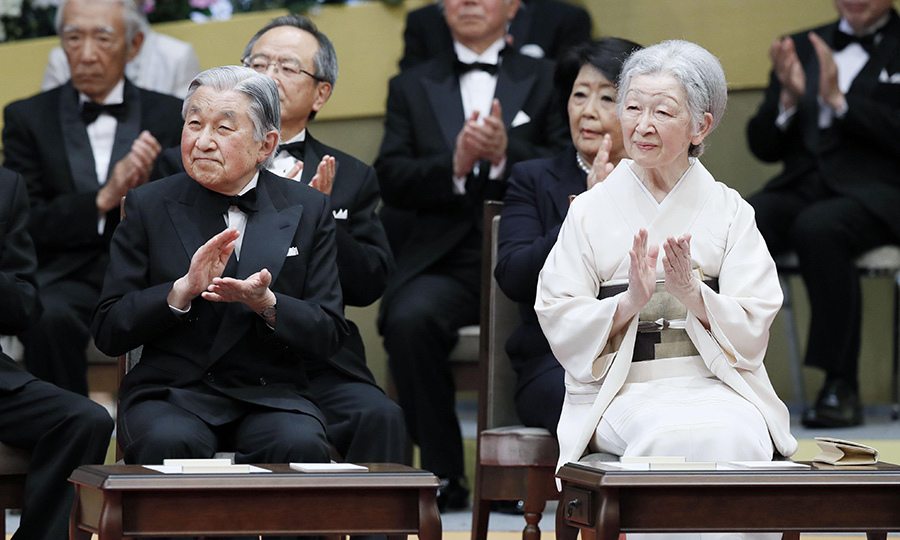 <p>Japanese Emperor Akihito and Empress Michiko clapped during an award ceremony for the Japan Prize in Tokyo on April 18.</p>