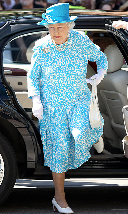 <p>She loves a good print, and so do we! The royal was beautiful in blue while arriving at the Cathedral Church of St. James in Toronto on her Canadian tour in 2010.
