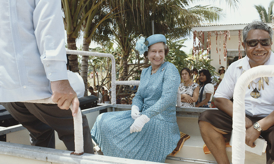 <p>The Queen was all smiles while in Tuvalu on her royal tour of the south Pacific in 1982.