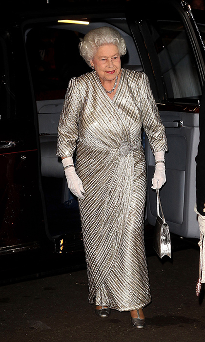 <p>In one of her most glam looks ever, the Queen shined in a crystal diamante-embellished gown for the 2012 Royal Variety Performance..</p>