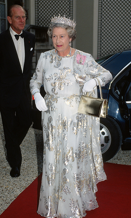 <p>The royal dazzled in an Ian Thomas creation at the Elysee Palace in Paris in 1992.</p>