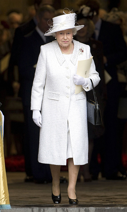 <p>The Queen donned white while attending the 2007 service of celebration for her diamond wedding anniversary with Prince Philip.</p>