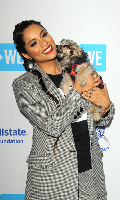 <p>Lily Singh brought a puppy along with her.