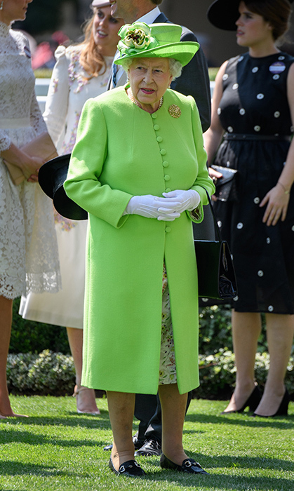 <p>Queen Elizabeth looks incredible in every colour, especially this gorgeous lime green she wore at the <a href=/tags/0/royal-ascot><strong>Royal Ascot</a></strong> in 2017.
