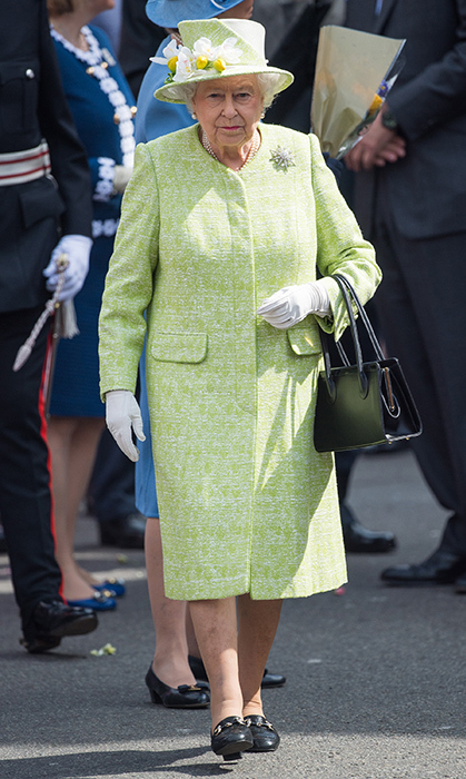 <p>The Queen dusted off one of her finest green coats for a walkabout in Windsor on her 90th birthday in 2016.