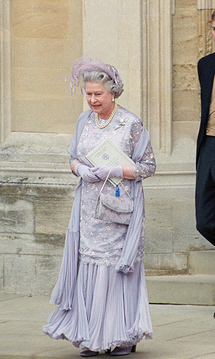 <p>Texture galore, this pale purple gown was donned for Prince Edward's wedding in 1999.