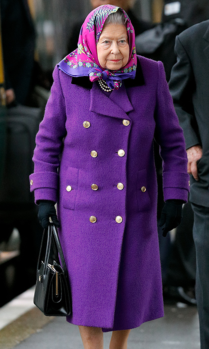 <p>While arriving at Sandringham for the Christmas celebrations in 2017, Her Majesty wore a vibrant purple coat and magenta headscarf.