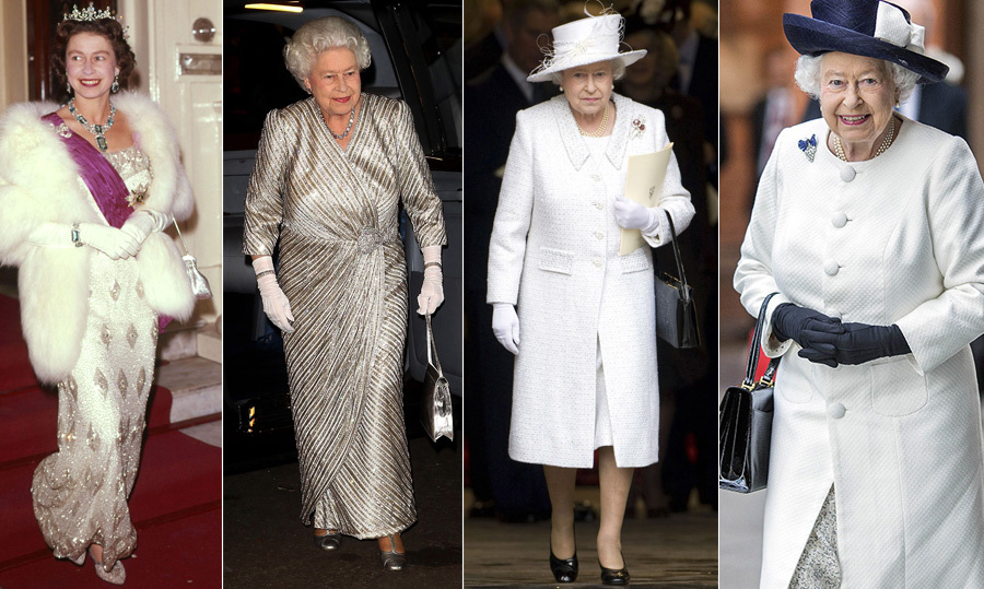 <p>Some of the Queen's most glamorous looks have been in white or silver, from the metallic number she dazzled in at the 2012 Royal Variety Performance to a more casual look in 2005 when arriving at Heathrow Airport. Always keeping it classy with the chicest of accessories, her outfits perfectly suit both her own personal style as well as the occasion at hand.</p>