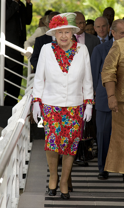 <p>No outfit choice is too bold for the Queen, because she always gives it her own classic touch. Here, she was visiting Trinidad with <a href=/tags/0/prince-philip><strong>Prince Philip</a></strong> in 2009.