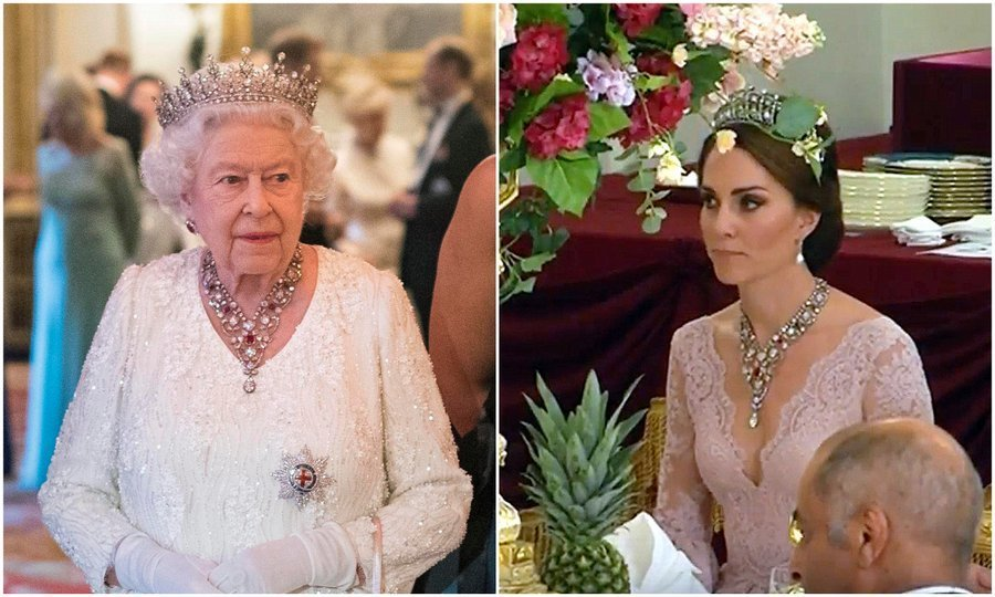 <p>Hosting a dinner for the Commonwealth nations at Buckingham Palace on April 19, the Queen wore the Girls of Great Britain and Ireland tiara along with the stunning Ruby and Diamond Floral Bandeau necklace. The stunning necklace was last seen worn by Her Majesty's granddaughter-in-law Kate Middleton, who had donned it at a state dinner, right, with visiting King Felipe VI and Queen Letizia of Spain.</p>