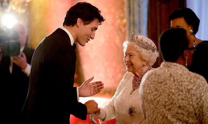<p>Prime Minister Justin Trudeau was on hand at the glitzy banquet, where he charmed the Royal Family, putting a huge smile on the Queen's face. Prince Charles was also seen enjoying a hearty laugh with the Canadian leader, who also caught up with Prince Harry, with whom he first bonded during the 2017 Invictus Games in Toronto.</p>
