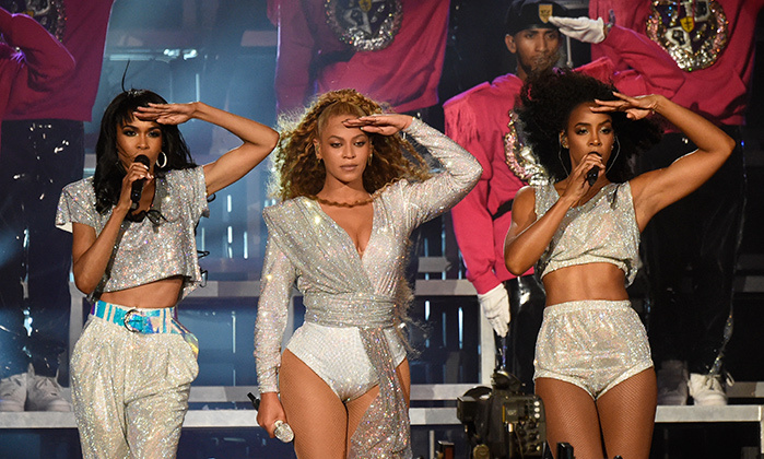 "Beychella 2.0! Beyonce stole the show yet again on the second weekend of Coachella, turning out a whole new Balmain wardrobe that traded black and yellow for magenta and silver as she belted out her hits. Destiny's Child came out for round two of the record-breaking run, which saw Queen Bey break YouTube's live-streaming record, singing ""Say My Name"" among other hits.
