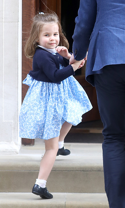 <p>Dressed in blue, the little princess was ready to meet her baby brother.