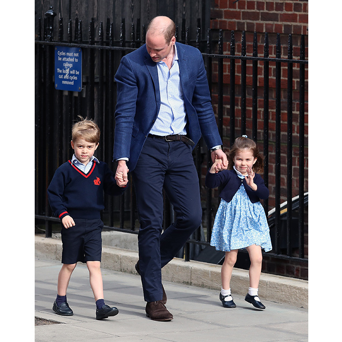 Prince William and the kids made their big debut outside the Lindo Wing and looked adorable coordinated with dad in blue outfits. George was wearing his school uniform, while Charlotte was clad in a sweet blue floral dress and navy sweater.