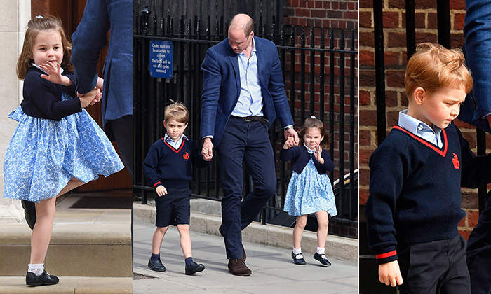 "<a href=""/tags/0/prince-william"">Prince William</a> and <a href=""/tags/0/kate-middleton"">Kate</a> welcomed their third child on Monday, April 23 at the Lindo Wing at St Mary's Hospital, where they previously welcomed <a href=""/tags/0/prince-george"">Prince George</a> and <a href=""/tags/0/princess-charlotte"">Princess Charlotte</a>. Born at 11:01 am (London time) and weighing in at 8 lbs 7 oz, the little bundle is the Duchess's largest yet. Excitement soared as William hopped into his Range Rover to go grab his children, promising to be back in a minute. And the little royals did NOT disappoint! Princess Charlotte and Prince George stole the show on their arrival, he in his school uniform and she in a sweet blue floral dress and navy sweater. Click through to see all the adorable photos of big brother Prince George and big sister Princess Charlotte at the Lindo Wing..."